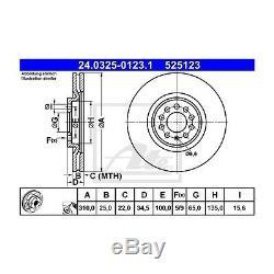 2 St. ATE 24.0325-0123.1 Bremsscheibe Power Disc für VW Polo Bora Golf IV