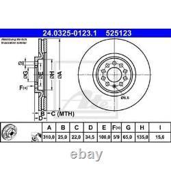 ATE 2x Bremsscheiben belüftet beschichtet 24.0325-0123.1