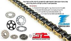 Suzuki DL650 V Strom 07-16 Tsubaki Alpha Gold X-Ring Chain & JT Sprocket Kit