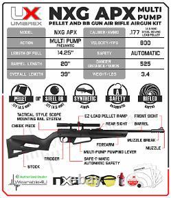 Umarex NXG APX Youth Multi-Pump Pneumatic. 177 BB or Pellet Gun Air Rifle Kit