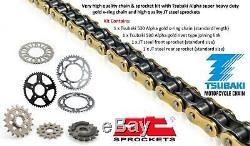 Yamaha FZ6 N / S Fazer 04-10 Tsubaki Alpha Gold X-Ring Chain & JT Sprocket Kit