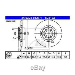 2 St. Ate Bremsscheibe Power Disc 24,0325 À 0123,1 Für Vw Bora Polo Golf IV