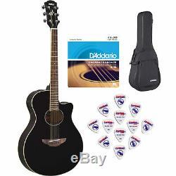 Yamaha Apx600 Guitare Acoustique-électrique, Noir Brillant Avec Étui, Choix Et Cordes