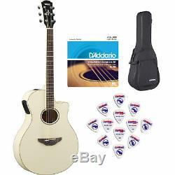Yamaha Apx600 Vw Fines Guitare Acoustique-électrique Withsoft Cas, Cordes Et Choix